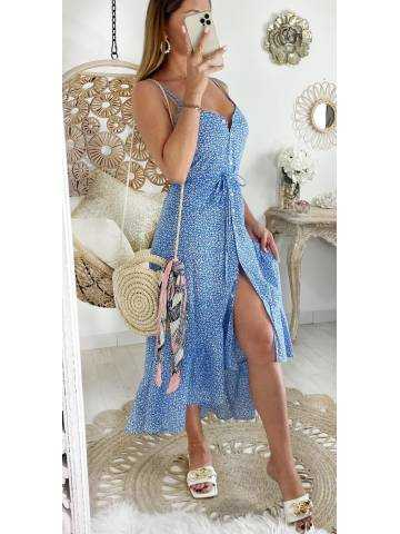 Robe longue asymétrique blue liberty