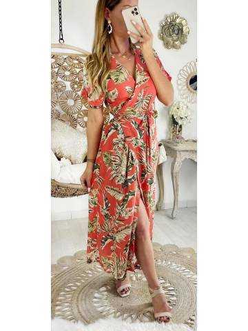 "Ma robe corail cache coeur ""wide flowers"""