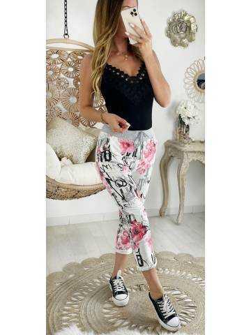 "Mon pantalon style jogging ""Pink flowers &  writings"""