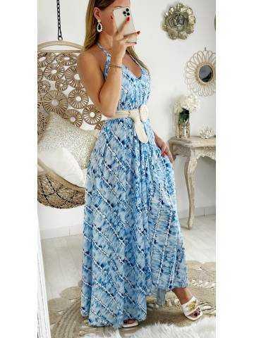 "Ma robe longue dos nu ""blue tie & dye"""