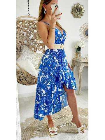 """Ma robe longue cache coeur et volants """"blue cashmere"""""""