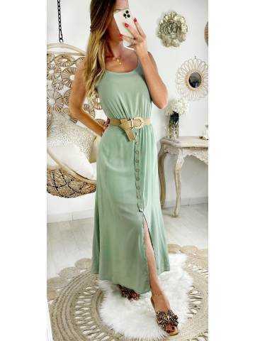 """Ma robe vert amande mi longue  """"boutonnée et sa ceinture"""""""