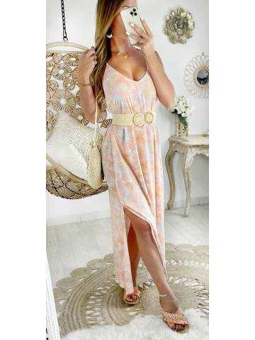 Ma robe longue et fendue tie & dye Pastel corail
