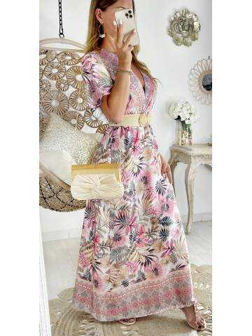 Ma jolie robe longue satinée pink leaf