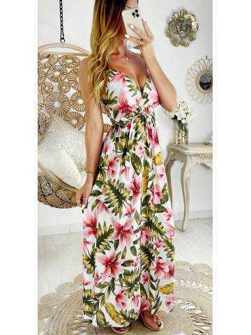 """Ma robe longue cache coeur et lien à nouer """"flowers & leaf"""""""