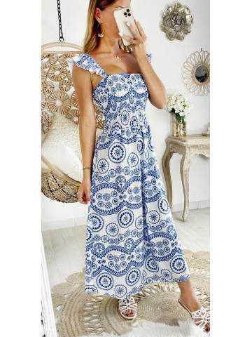 Ma robe longue imprimé blanc/bleu buste smocké