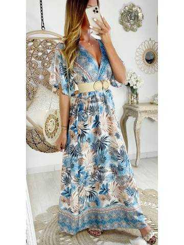Ma jolie robe longue satinée blue leaf