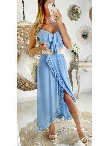 """Robe longue bleue """"voilage et volants"""""""