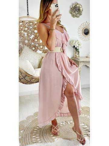"""Robe longue pink """"voilage et volants"""""""