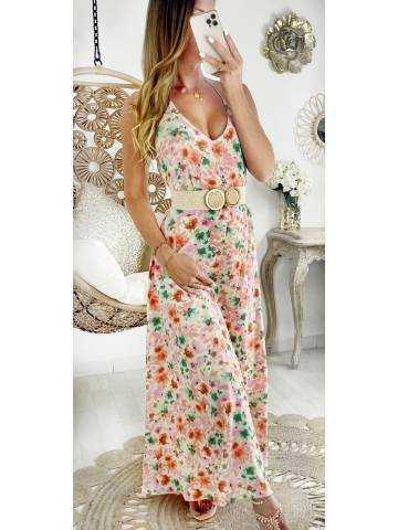 """Ma robe longue dos nu """"blurry flowers"""""""