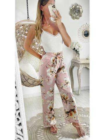 """Mon pantalon droit et satiné pink """"japan flowers"""""""