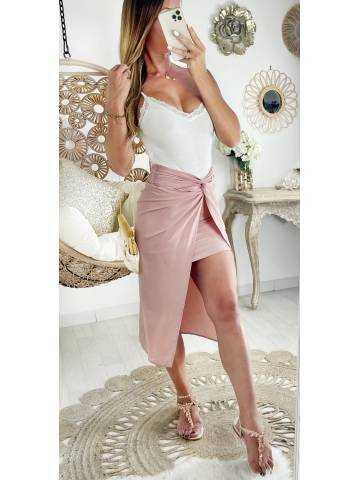 Ma jupe pink effet deux pièces et drapé