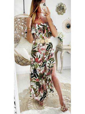 "Ma robe longue col volant ""leaf & flowers"""