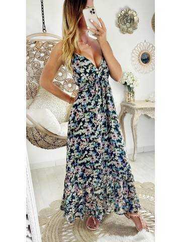 "Ma jolie robe longue ""black & pastel flowers"""