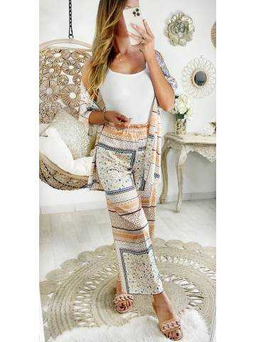 "Mon ensemble kimono & pantalon large et satiné  ""beige Print"""