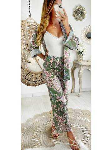 """Mon ensemble kimono & pantalon large et fluide """"Green Print"""""""