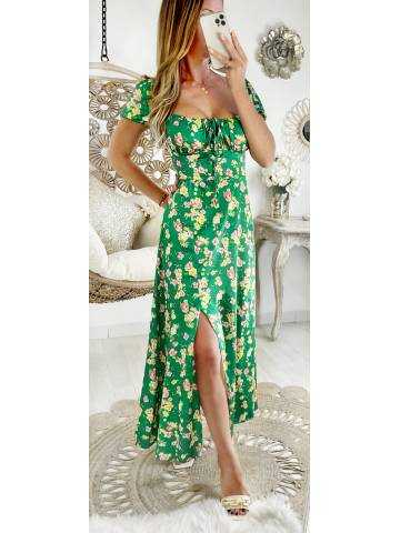 """Robe longue satinée et fendue """"green & flowers"""""""