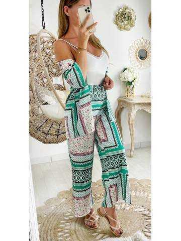 "Mon ensemble kimono & pantalon large et fluide ""Kaki Print"""