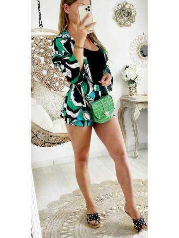"Mon ensemble short kimono ""green graphic"""