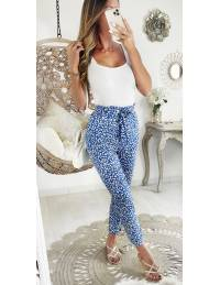 """Mon pantalon fluide blue """"White flowers"""""""