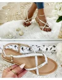 """Mes sandales White & gold """"lanières croisées"""""""