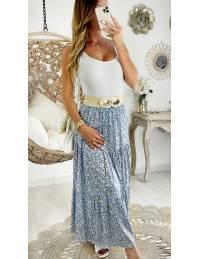 "Ma jupe longue fleurie Bleue ""White Daisy & Gold"""