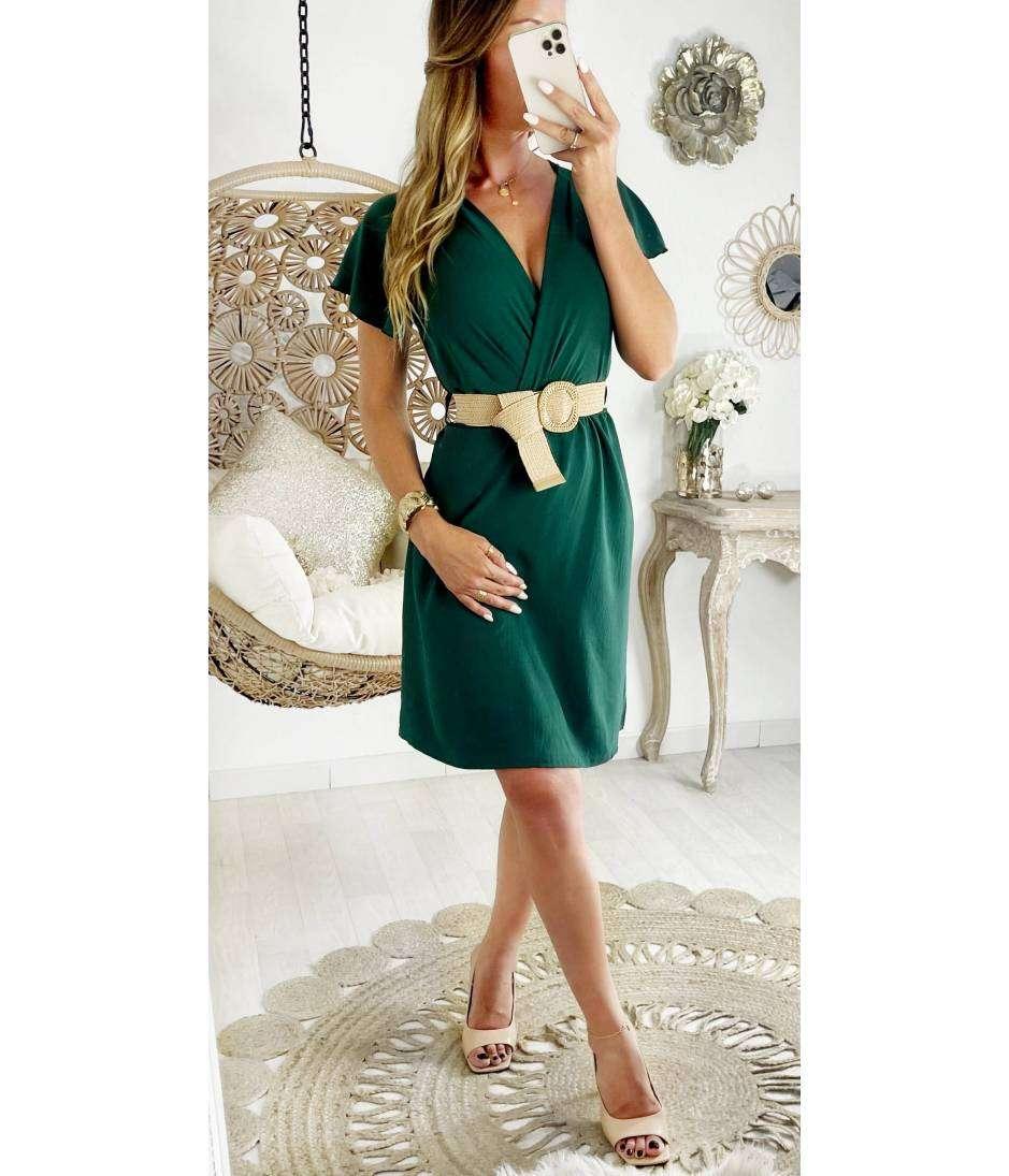 "Ma jolie robe Dark Green et sa ceinture ""manches volants"""