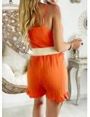 """Ma combi short Orange flashy  """"boutonnée et bas volants"""""""