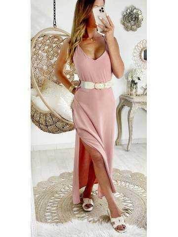 Ma jolie robe longue fendue rose pale et dos croisé