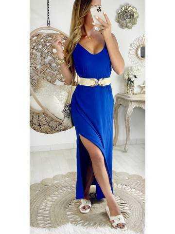 Ma jolie robe longue fendue bleu roi  et dos croisé