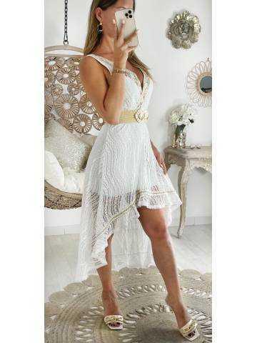 """Ma robe longue blanche asymétrique """" Dentelle & Gold"""""""