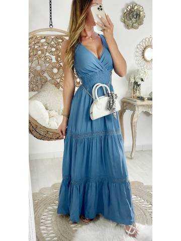 """Ma jolie robe longue bleue """"cache coeur et broderies"""""""