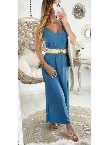 Ma jolie robe longue fendue bleu jeans et dos croisé