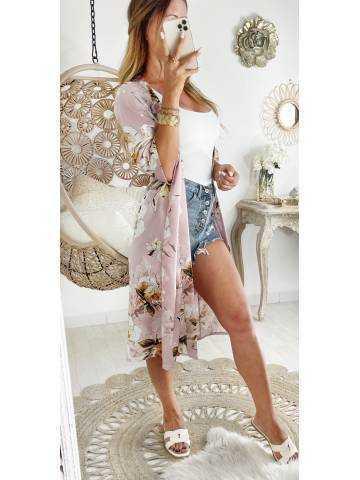"Mon gilet kimono satiné ""Pink & flowers print"""