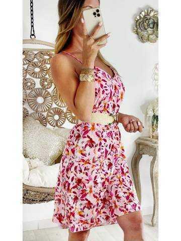 "Ma jolie robe droite mi-longue ""Punchy flowers"""