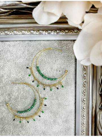"Mes boucles d'oreilles ""Moon"" Green Pearls & Gold"