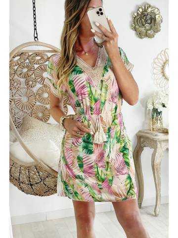 "Ma jolie robe droite mi-longue ""Gold &  tropical leafs"""