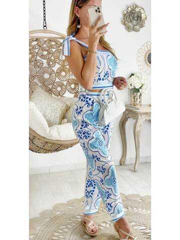 """Mon ensemble bleu imprimé """" crop top & pantalon satiné"""""""