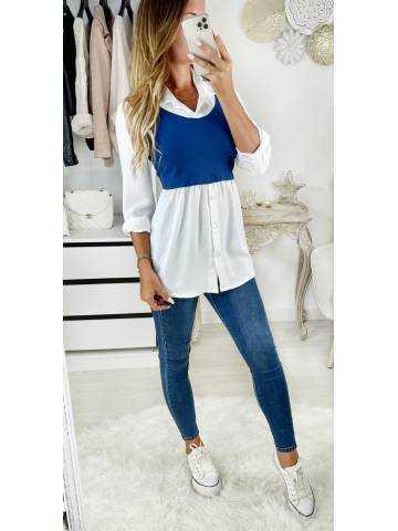 Mon chemisier blanc et top court bleu jeans