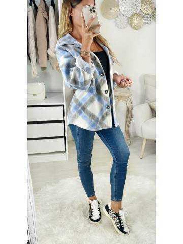 Ma veste lainage loose à carreaux grey & blue