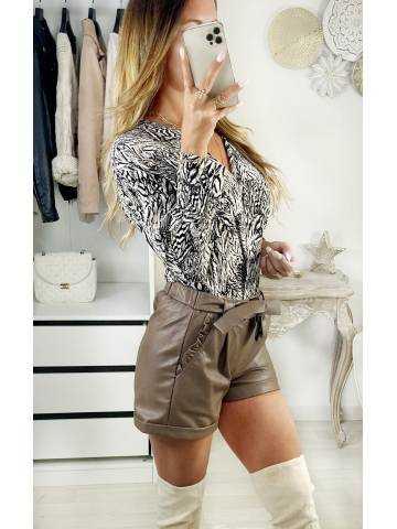 "Ma petite blouse Col V  ""beige & black print"""