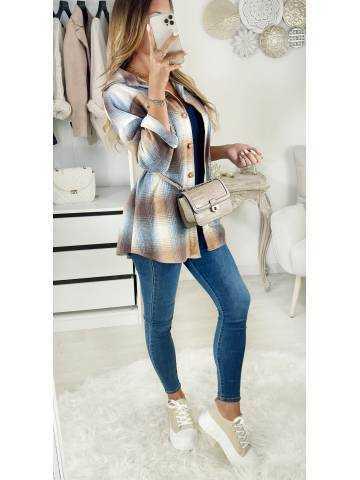 Ma veste / Surchemise à carreaux blue & beige