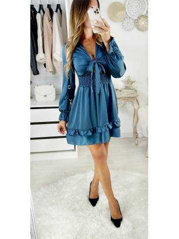 """Ma jolie robe satinée et col noué """"bleu pétrole"""""""