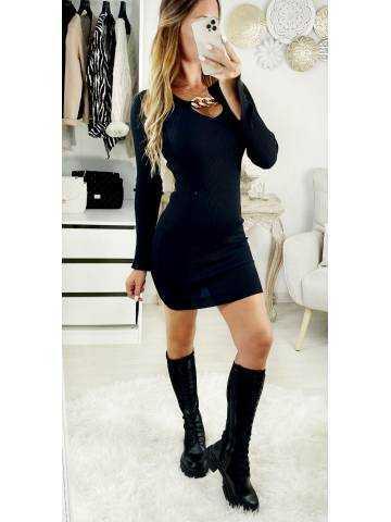 Ma jolie robe black côtelé col V & chain gold