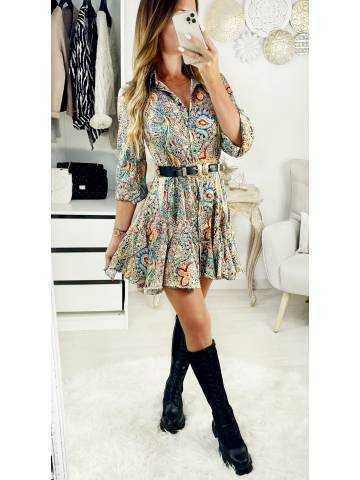 "Ma jolie robe color Print ""maxi volants"""