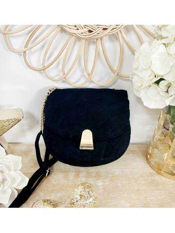Mon petit sac style daim black & Pince Gold