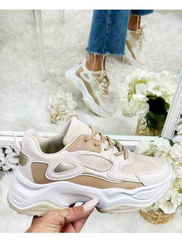 """mes jolies sneakers white & beige """"gold"""""""