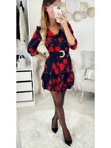"Ma jolie robe noire ""red print & taille smockée"""