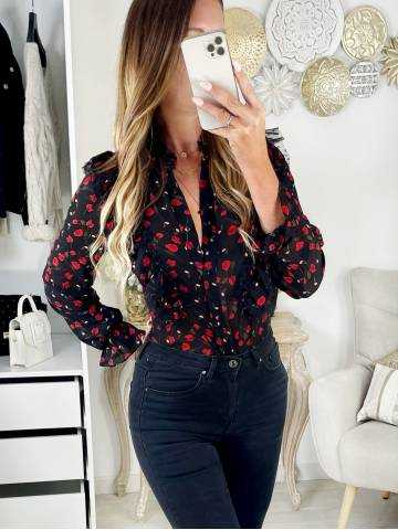Petit chemisier noir Red Roses & Volants