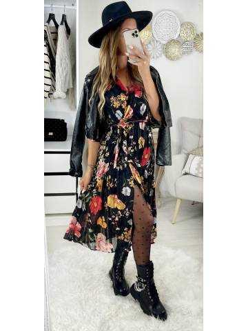 """Ma robe longue noire scintillante cache coeur """" flowers & fendue"""""""